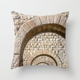 Stone arch of French bridge in Rhone-Alpes Throw Pillow