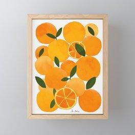 mediterranean oranges still life  Framed Mini Art Print