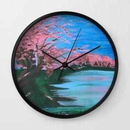 Cherry Blossom Lake Wall Clock