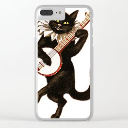 Cat playing a banjo Clear iPhone Case