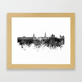 Chesterfield skyline in black watercolor Framed Art Print