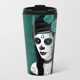 Day of the Dead Sugar Skull Girl with Teal Blue Roses Travel Mug