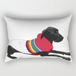 Black Great Dane with a sweater Rectangular Pillow