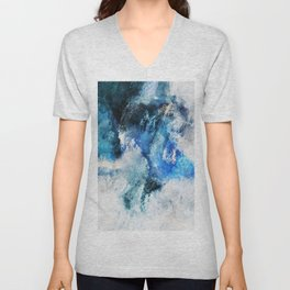 Waves Abstract Painting - Minimalist Seascape Painting Unisex V-Neck