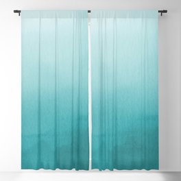 Aqua Teal Turquoise Watercolor Ombre Gradient Blend Abstract Art - Aquarium SW 6767 Blackout Curtain