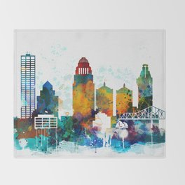 Louisville colorful watercolor skyline Throw Blanket