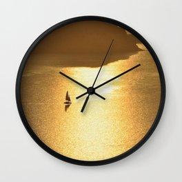 Sailing on a Golden Sea Wall Clock
