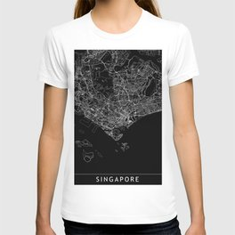 Singapore Black Map T-shirt