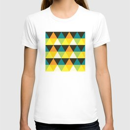 Geometric Pattern 60 (teal orange yellow triangles) T-shirt