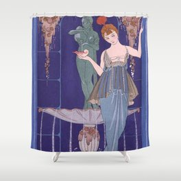 George Barbier The Shell Fountain 1914 Shower Curtain