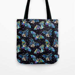 Three Bat Brothers Psychedelic Pattern Tote Bag