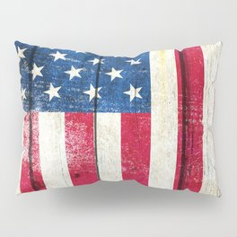 Vintage American Flag On Old Barn Wood Pillow Sham