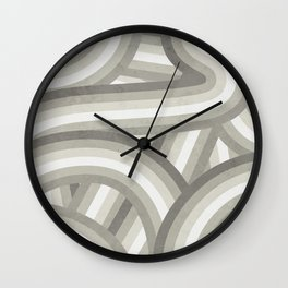 Retro Beige/Greige Stripe Pattern Wall Clock