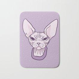 Lilac Point Seal Grumply Wrinkly Sphynx Kitty - Hairless Cat Illustration - Bad Cattitude - Line Tattoo Art Bath Mat
