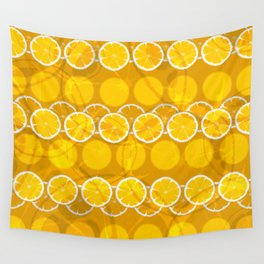 Juicy orange slices composition Wall Tapestry