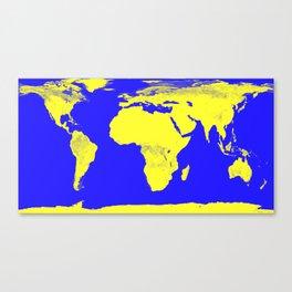 World Map Blue & Yellow Canvas Print