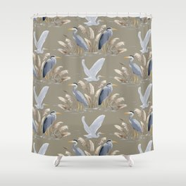Great Blue Heron - Tan and Gray Shower Curtain