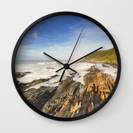 Rocky coastline in Garden Route National Park, South Africa Wall Clock