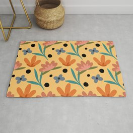 Colorful floral Cut Out Flowers and Leaves fabric Yellow Rug