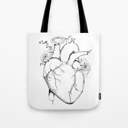 Black and White Anatomical Heart Tote Bag