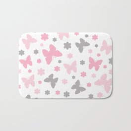 Pink and Grey Butterflies and Flowers Bath Mat