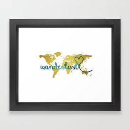 Wanderlust Gold Foil Map with Teal Glitter Text Framed Art Print