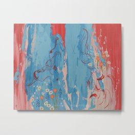 Red and Blue Abstract Flower Field Painting by Jodi Tomer. Metal Print