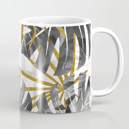 Monstera black and white with golden leaves Coffee Mug