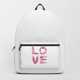 L-O-V-E in Pink Flowers Backpack