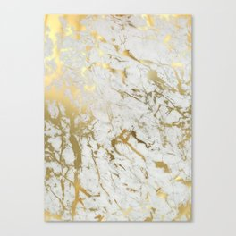 white and gold marble Canvas Print
