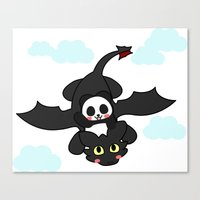 how to train your dragon Canvas Prints featuring How Panda Train Your Dragon by Pandakuma Store