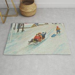 Happy vintage winter sledders Rug