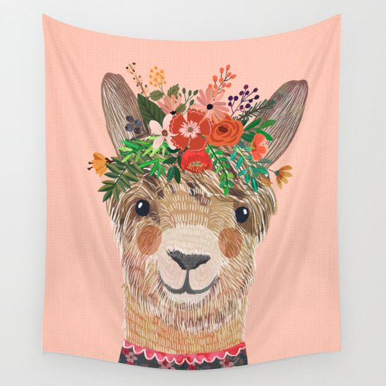 Llama with Flower Crown by Mia Charro by miacharro