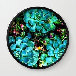 Beautiful Autumn plant green, blue Wall Clock