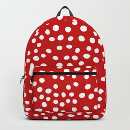 Red and white doodle dots Backpack
