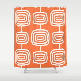 Mid Century Modern Atomic Rings Pattern 771 Orange Shower Curtain
