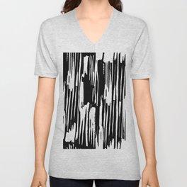 Modern Stripes Black Invert Unisex V-Neck