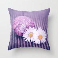 daisies Throw Pillows featuring DAISIES by VIAINA