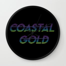 Coastal Gold Stripes Wall Clock