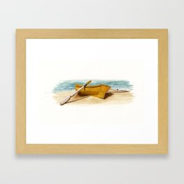Shore Time, rowboat, boat, seashore, beach Framed Art Print