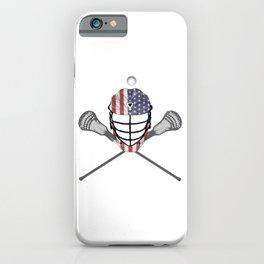 Lacrosse Helmet and Sticks, American Flag Lax Helmet T-Shirt iPhone Case