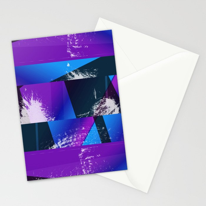 Purple and Cyan Abstract Glitch Collage Stationery Cards