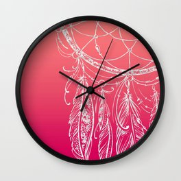 dream catcher on pink background Wall Clock