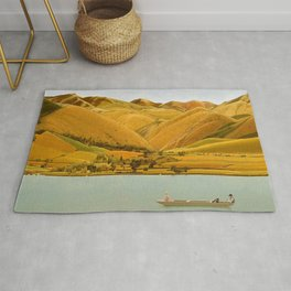 Edge of Abruzzi, Italy; boat with three people on lake by Winifred Knights Rug