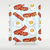 bacon Shower Curtains featuring Bacon & Eggs by minniemorrisart