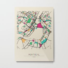 Colorful City Maps: Montreal, Canada Metal Print