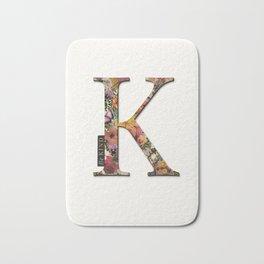 Floral letter K - Be KIND label text, Lo Lah Studio Bath Mat