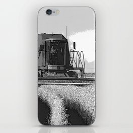 Black & White Harvesting Equipment Pencil Drawing Photo iPhone Skin