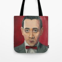 pee wee Tote Bags featuring Pee-Wee Herman, A portrait by Jen Holland AKA nerdifer