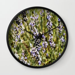 The Buzz in the Lavender Field Wall Clock